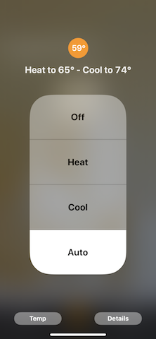 Home App Thermostat Accessory Auto Setting